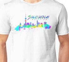 Shanghai China Skyline in water colour Unisex T-Shirt