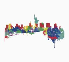 New York City Skyline Water Paint  Kids Tee