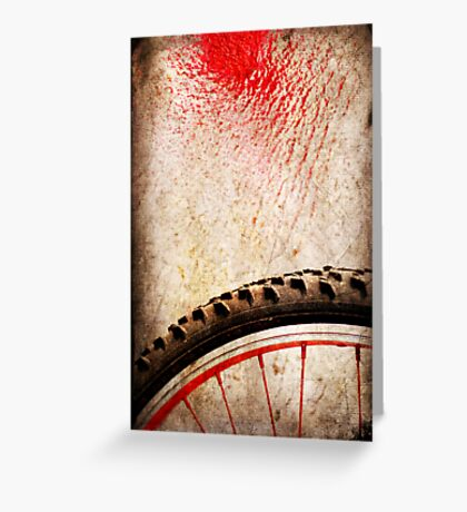 Bike wheel :: Red spray Greeting Card