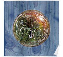 Flower Globe Bubble on Wood Poster