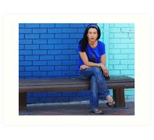 Blue Girl in a blue world Art Print