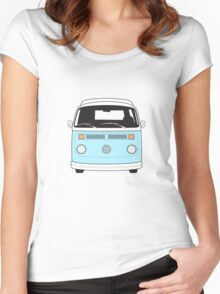 Late Bay VW Camper Pale Blue Front Women's Fitted Scoop T-Shirt