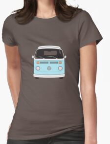 Late Bay VW Camper Pale Blue Front Womens Fitted T-Shirt