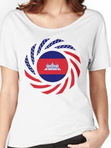Cambodian American Multinational Patriot Flag Women's Relaxed Fit T-Shirt