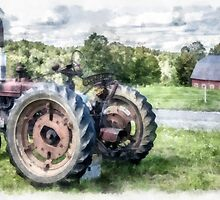 Old Vintage Tractor on the Farm by Edward Fielding