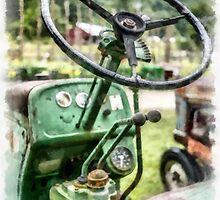 Vintage Green Tractor Steering Wheel by Edward Fielding