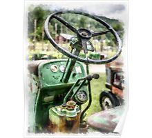Vintage Green Tractor Steering Wheel Poster