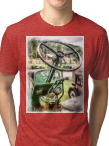 Vintage Green Tractor Steering Wheel Tri-blend T-Shirt