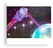 Galaxy Cat with Lazers Shooting Canvas Print