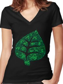 PokeDoodle - Grass Women's Fitted V-Neck T-Shirt