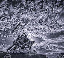 Iwo Jima Memorial Sunrise Cyanotype by mkurec