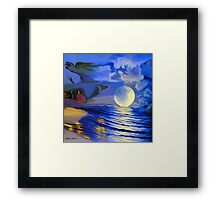 Moonlight and roses-  Art + Products Design  Framed Print