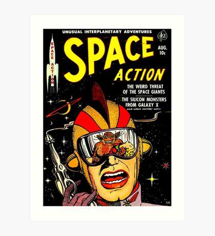 Retro Comic Cover - SPACE ACTION - Vintage Sci-fi cover Art Print