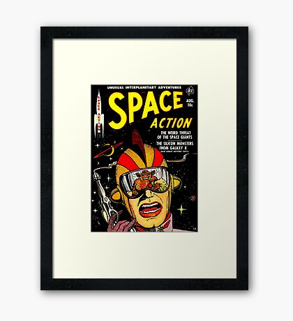 Retro Comic Cover - SPACE ACTION - Vintage Sci-fi cover Framed Print