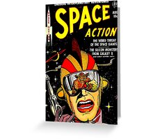 Retro Comic Cover - SPACE ACTION - Vintage Sci-fi cover Greeting Card