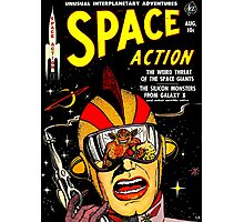 Retro Comic Cover - SPACE ACTION - Vintage Sci-fi cover Photographic Print
