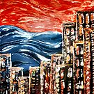 City by the sea abstract by Naomi  O'Connor
