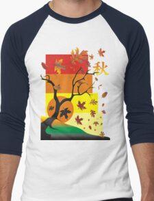Fall - Autumn Scene with Chinese  Men's Baseball ¾ T-Shirt