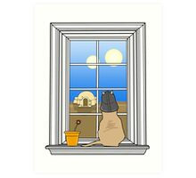 Twin Suns of Tatooine - Cat in the Window Art Print