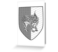 """""""Passant Guardant"""" -- Fierce Gray Griffin Coat of Arms Greeting Card"""