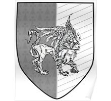 """Passant Guardant"" -- Fierce Gray Griffin Coat of Arms Poster"