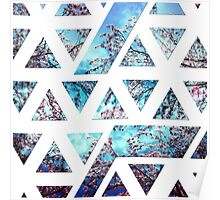 Pretty Pink Cherry Blossoms on Sky Blue Geometric  Poster