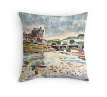 Eilean Donan After Steve Smith photo~Charles Burchfield painting style by Hopebaby. Throw Pillow