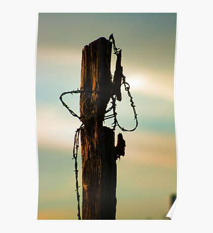 Old Fence and Barbed Wire Poster