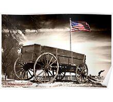 Wagon and Flag Poster