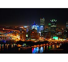 Pittsburgh Pennsylvania by night Photographic Print