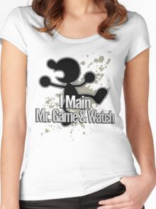 I Main Mr. Game & Watch - Super Smash Bros. Women's Fitted Scoop T-Shirt