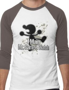 I Main Mr. Game & Watch - Super Smash Bros. Men's Baseball ¾ T-Shirt