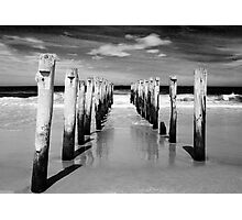 St Clair Beach in monochrome Photographic Print