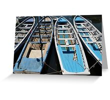 Blue and white wooden boats Greeting Card