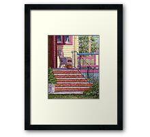 Porch with Basket Framed Print