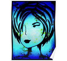 Blue Wallflower  Poster