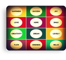 POSITIVE WORDS inspiration collage Canvas Print