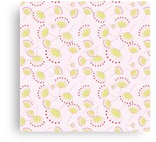 Pastel pink yellow abstract cute flowers pattern  Canvas Print