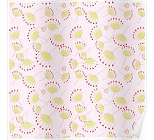 Pastel pink yellow abstract cute flowers pattern  Poster