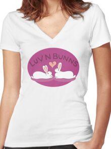 Hippity Hop - Purple Bunny Design Women's Fitted V-Neck T-Shirt