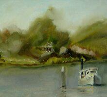 Crab Workboat in Fog by Phyllis Dixon