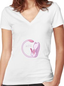 Sleeping Mew Women's Fitted V-Neck T-Shirt