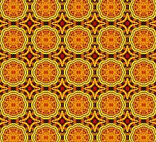 Golden Geometric Mandala Pattern 1 by Leah McNeir