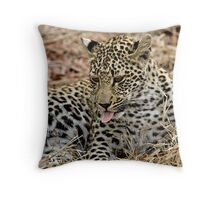 Leopard Cub Expressing Herself Throw Pillow