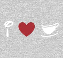 I Heart Tea Cups (Classic Logo) (Inverted) Kids Tee