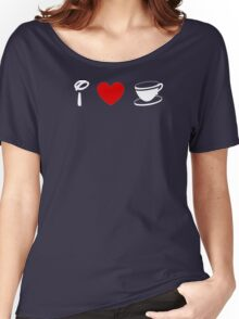 I Heart Tea Cups (Classic Logo) (Inverted) Women's Relaxed Fit T-Shirt