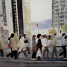 Georgia street, watercolor on board by Sandrine Pelissier