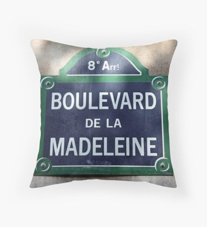 Paris Street Sign Throw Pillow