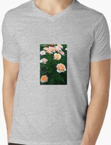 Peach Pink Rose Bunch Mens V-Neck T-Shirt