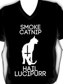 Smoke Catnip, Hail Lucipurr (White) T-Shirt